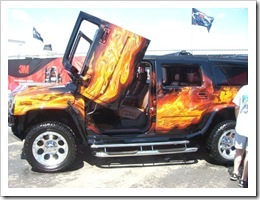 A highly customized Hummer, my son's favorite vechical.