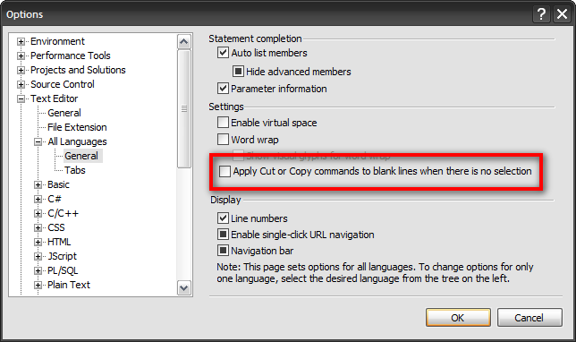Options dialog in Visual Studio